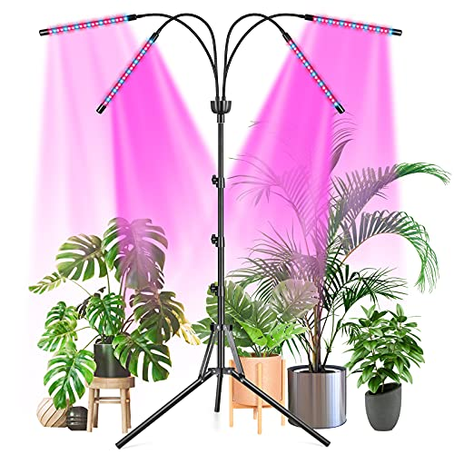 LED Grow Light for Indoor Plants ,Full Spectrum Plant Light with Stand,Upgraded Version 80 LED Lamps,3/6/12H Timer,360° Flexible Gooseneck,3 Switch Modes,Suitable for Various Plant Growth