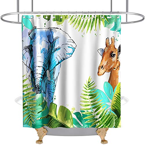 Watercolor Painting Theme Giraffe and Elephant Shower Curtain Animals in Tropical Palm Jungle Cloth Fabric Kids Bathroom Decor Sets with Hooks Waterproof Washable 70 x 70 inches Colorful