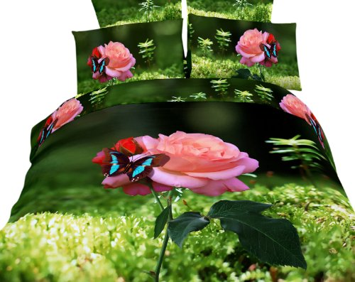 beautiful pink rose bedding set