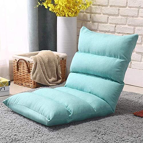 Sofá Cama Perezoso Ligero, Plegable, Acolchado, Silla de Piso con Respaldo Ajustable, 5 ángulos, sillón, Asiento Plegable, Cushi Encendido (Color: C) (Color: D) (Color: Azul)