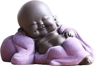 Nobranded Little Delicate Ceramic Chinese Happy Buddha Statue Figurine Decoration Dolls Car Decors - E