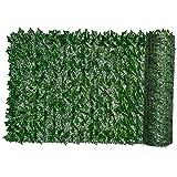 Seto Artificial Hiedra Hoja Pantalla Valla Telón de Fondo Pared Planta de Hierba Artificial Decorativo para Contacto protección de la casa Balcón Jardín 0.5x3m Decoración Verano