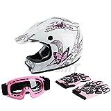 TCMT Dot Youth & Kids Motocross Offroad Street Helmet Pink Butterfly Motorcycle Helmet