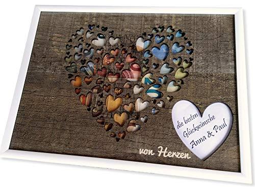 Geldgeschenk mit Herzmotiv im Bilderrahmen I Hochzeit I Geburtstag I Taufe I Reisen I Geldgeschenke I Geldverpackung I Geschenk I Geld von Herzen verschenken