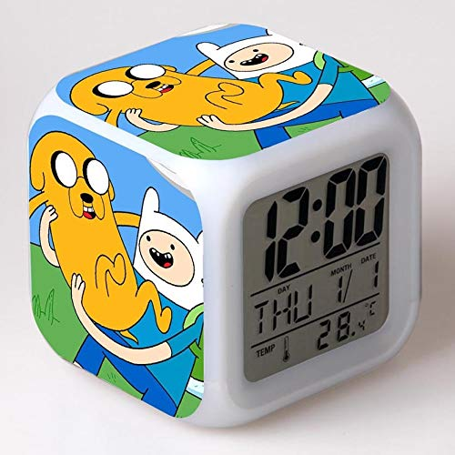 Zhuhuimin Hora de Aventura Reloj Despertador niños Dibujos Animados Cambio de Color luz Nocturna led Reloj Digital Reloj electrónico Reloj