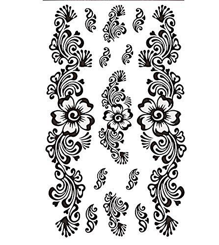 Tattoo schwarz Tribal geschwungen Linien Blume groß klein Finger Handgelenk temporär Klebetattoos | Tattoos Henna-Style Frauen Braut Mädchen