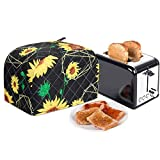 2-Slice Toaster Cover,Bread Toaster Oven Dustproof Cover,Waterproof Kitchen Small Appliance Cover Kitchen Broiler Appliance Organizer Bag Anti Fingerprint Protection For Woman Gift-Top Handle Design (Sunflower)