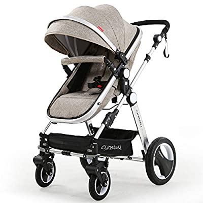 Infant Toddler Baby Stroller Carriage - Cynebaby Compact Pram Strollers add Tray (Khaki)