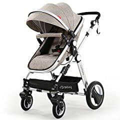 ✅SPECIAL AND UNIQUE DESIGN.👍 Ergonomic design, great for infant and toddler baby. Sliver appearance looks very elegant and luxury; Anti-shock design, the springs in front wheels absorb shocks to protect baby's brain and body. All terrain pram strolle...