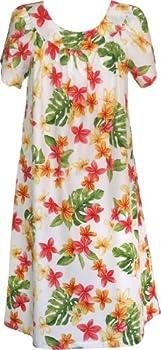 RJC Women s Yellow Plumeria Muumuu Dress White 2X Plus