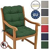 Beautissu Cojín para sillas de balcón Flair NL - Cojín para Asiento Exterior con Respaldo bajo - 100x50x8 cm - Relleno de Copos de gomaespuma - Verde Oscuro