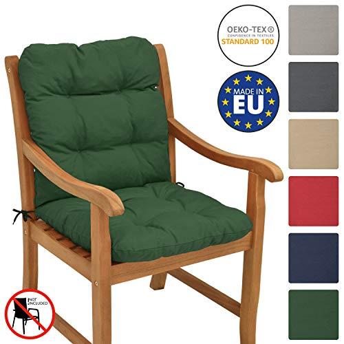 Beautissu Cuscino per sedie da Giardino Flair NL100x50x8cm - Comoda e soffice Imbottitura - Morbido Cuscino per Interni ed Esterni - Ideale Anche per spiaggine - Verdone