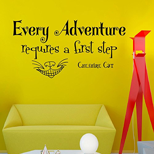 Wall Decals Vinyl Sticker Every adventure requires a first step Cheshire Cat Sayings Quote Alice in Wonderland Quotes Kitchen Nursery Baby Kids Children Room Decal Home Decor Murals Bedroom Studio Dorm by DecorimDecorWallDecal