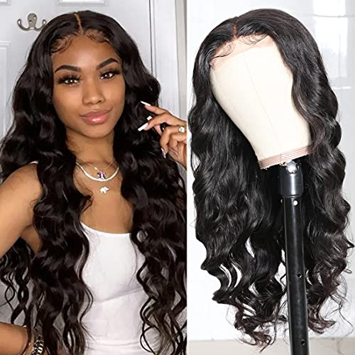 Beauty Forever 4x4 Lace Closure Wig Brazilian Virgin Human Hair Wigs, 14inch Body Wave Wigs Pre-plucked Lace Wig For Black Women 150% Density Natural Color