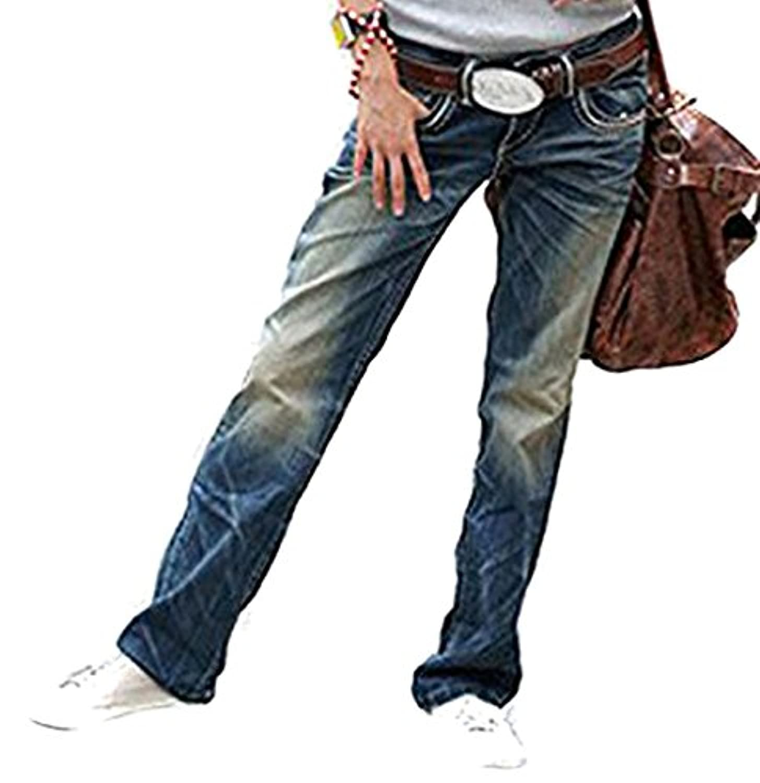 [ゴールドジャパン] 大きいサイズ レディース パンツ デニム ストレート ジーンズ ボトムス ロング丈