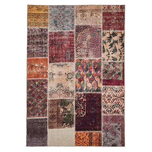 WEBTAPPETI.IT Tapis de salon original Turc coloré, lavable, moderne, motif patchwork multicolore, 160 x 230 cm