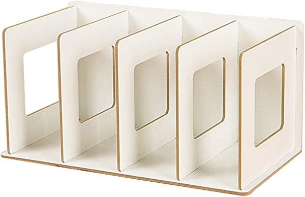 Holder Sink Suction Organizer Plastic Suction Tumbler Cup Adhesive 4 Grids Wooden Bookshelf Storage Rack Tabletop Bookcase Organizer Home Decor White