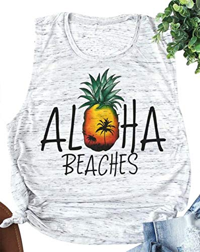 Aloha Beaches Tank Tops Pinapple Sleeveless T Shirt Women Summer Beach Vacation Pineapple Print Vest Hawaiian Shirt Size M (White)