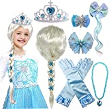Elsa Wig Package included: 1pc Elsa wig, 1pc princess tiara, 1pc hair clip with wig, 2pcs hair bows, 1pc necklace, 1 pair of gloves. Your child can look just like Princess Elsa with this beautiful wig. Perfect for girls birthday parties and dress up ...