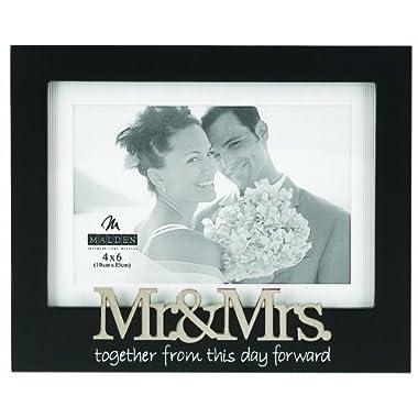 Malden International Designs Wedding Mr. and Mrs. Expression Picture Frame, 4x6, Black