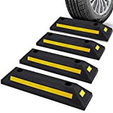 Pyle Curb Garage Vehicle Floor Safety 1PC Heavy Duty Rubber Parking Lot Driveway Stopper, For Car Vans Trucks Tire Wheel Guide Block Protect Bumper, 4 Pack PCRSTP11X4, Multicolored