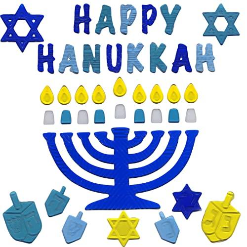 Hanukkah Window Clings Happy Hanukkah with Menorah