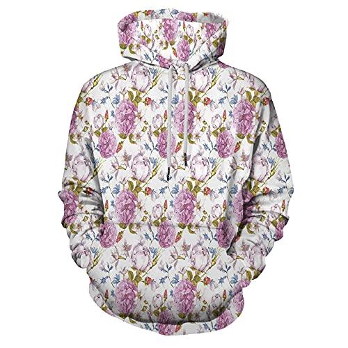 Pullover Hooded Sweatshirt Floral Vintage Pastel Spring Scene for Men/Women