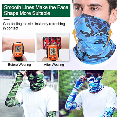 Kalolary 9 PCS Camouflage Face Cover UV Protection Neck Gaiter Face Cover Breathable Bandana Cooling Face Scarf for Fishing Hunting Camping Cycling