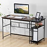 56' Writing Computer Desk with End Table, 2 in 1 Design Industrial Home Office Desk with Storage Shelves on Left or Right, Work from Home Reading Studying, Steel Frame, Rustic Brown and Black