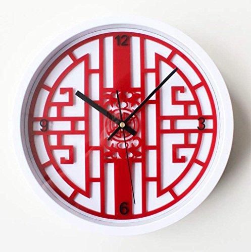 ZNZ Uhr, Wanduhr, Glocke, Uhren, Wecker, Wanduhr, Wanduhr Neoklassische 3D-Tischkunst Dreidimensionale Jugendstil-Wanduhr Rote Porzellan-Wanduhr Roter Tisch 33 * 33Cm