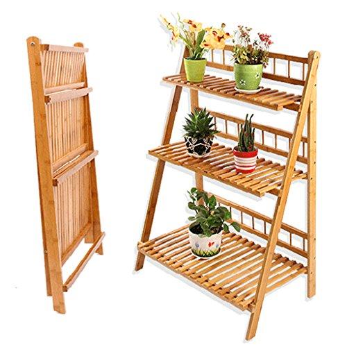 Support de fleur pliable, support de fleur d'intérieur - multi-couche salon en bois massif balcon bambou vert fleur Pot Rack, pied de plante (Couleur : 100cm)