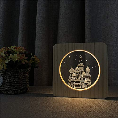Kremlin Temple 3D Arylic Wooden Night Light Table Lamp Carving Night Light Christmas Kids Gift Room Decorate