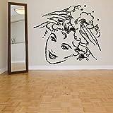 Art Deco Vinyl Removable Wall Sticker Mural, Girl Shampoo Pattern, Hair Salon, Beauty -65x57cm
