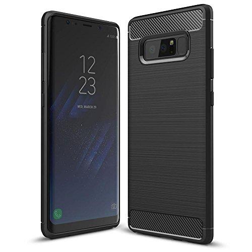 NALIA Handyhülle kompatibel mit Samsung Galaxy Note 8, Carbon-Erscheinungsbild Design Ultra-Slim Silikon Hülle Back-Cover Dünn, Schutzhülle Etui Handy-Tasche Handy-Schale Skin Bumper Smart-Phone Hülle - Schwarz