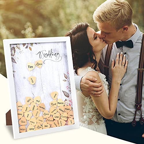 Goldzweig Gästebuch für die Hochzeit aus Holz inkl. 80 Herzen zum Beschriften I Bilderrahmen mit Echtglas I Austauschbarer Hintergrund - Alternative zum klassischen Hochzeitsgästebuch I Vintage