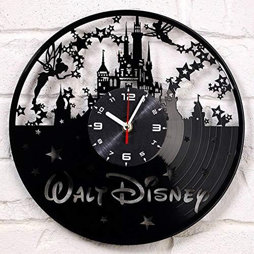 YUN Clock Wanduhr aus Vinyl Schallplattenuhr Upcycling Disney Schloss - 3D Design-Uhr Wand-Deko Vintage Familien Zimmer Dekoration Kunst Geschenk Ø: 30 cm
