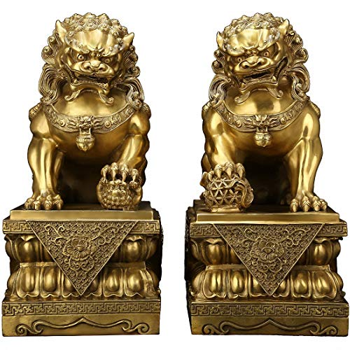Brass Feng Shui Beijing Foo Fu Dog Guardion Door Evil...