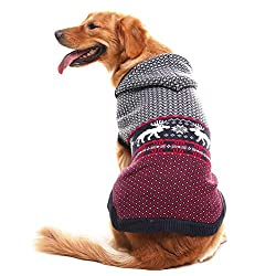 Hoodie Dog Sweater with reindeer, red and grey. Has hood to keep doggie dry