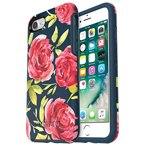 OtterBox SYMMETRY SERIES Case for iPhone SE (2nd gen - 2020) and iPhone 8/7 (NOT PLUS) - Retail Packaging - BOUQUET (BLAZER BLUE/BLAZER BLUE/BOUQUET GRAPHIC)