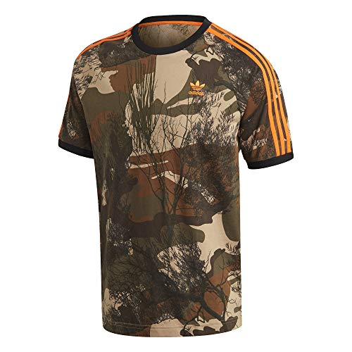 adidas Herren CAMO AOP Tee T-Shirt, Hemp/Brown Oxide/Earth Green/app Signal orange, L