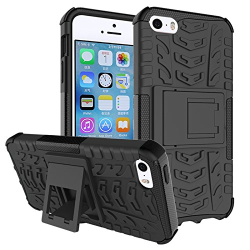 Iphone 5 Case, Iphone 5s Case,[drop Resistance][scratch Proof][shockproof]soft Shock Absorption TPU Inner Sleeve & Impact-resistant Hard Plastic Case Back Cover Iphone 5,iphone 5s (Black/Black)