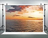ALUONI 7x5ft Sunset Over Adriatic Sea with Golden Dramatic Sky Panorama Backdrop for Photography Photo Background Props Photography No64828