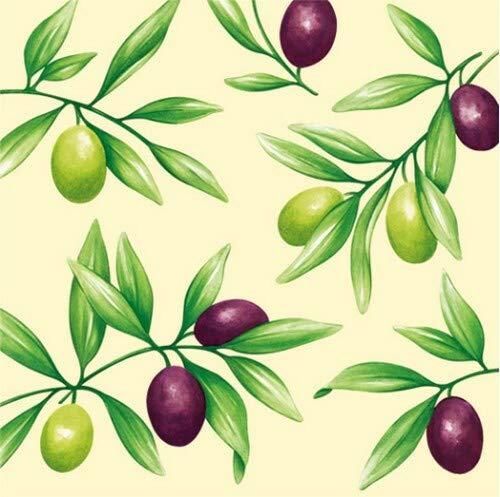 20 Servietten Gemalte Olivenzweige zum Thema Essen mediterran 33x33cm