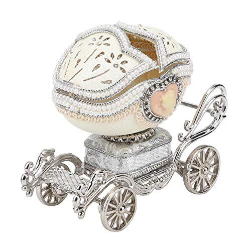 HERCHR Joyero Musical para niñas, Caja de baratijas para tallar Huevos, Adornos, Caja de música con Carro de Princesa, Cajas de Regalo de joyería para cumpleaños de niños