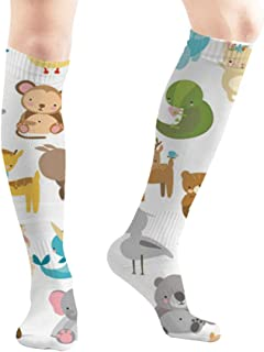 Zoo Set Cute Animals Tiger Wildlife Chinchilla 19.7 Inch Compression Socks High Boots Stockings Long Hose for Yoga Walking for Women Man