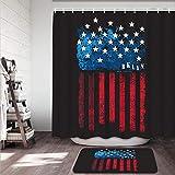 kThrones 2-teiliges Badvorleger-Set,Duschmatte+Duschvorhang,New Yorker Flagge,USA,rutschfeste Badvorleger für Küche,Dusche & Toilette(150x180cm)
