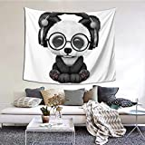 AORYGGS Tapestry Wall Hanging Tapestry,Adorable Panda Wearing Glasses and Headphones Dorm Decor for Living Room Bedroom 51x60 Inches