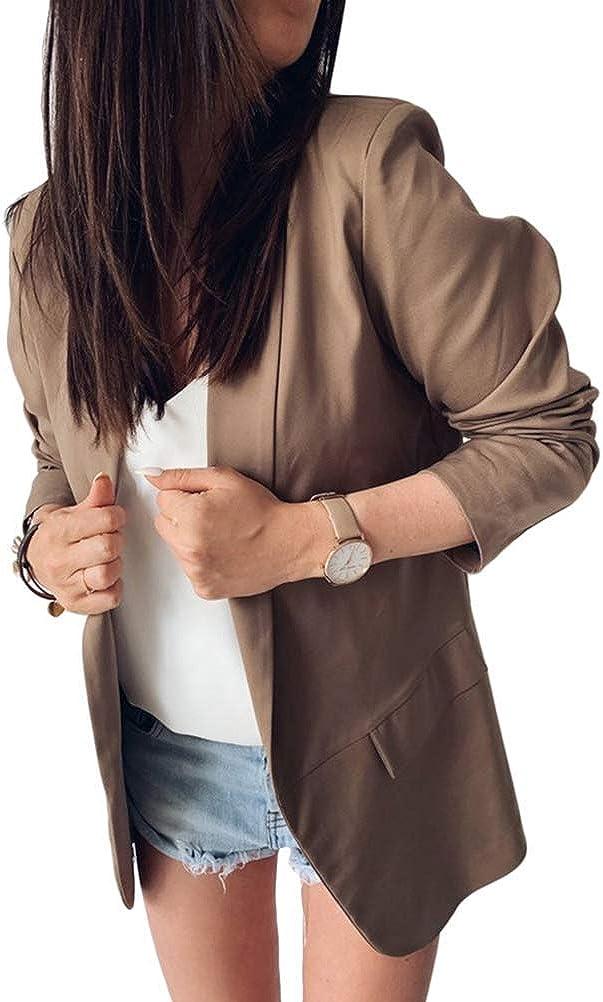 Onsoyours Mujer Blazer Chaqueta De Manga Larga C/árdigan Oficina Ligero Frente Abierto Chaqueta para Ni/ño Blusa Traje De Trabajo De Noche Corte Entallado Jacket
