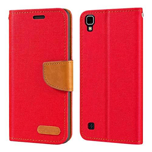 Capa para LG X Power, capa carteira de couro Oxford com capa traseira magnética de TPU macio para LG X Power