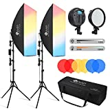 HPUSN LED Softbox Lighting Kit Professional Studio Photography Equipment 24x36 Inch 3200-5600K 48W Dimmable LED Light with Red/Yellow/Blue Filter for Studio Video and Others Photography